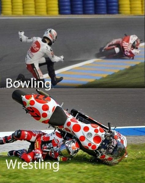 Motorcycle bowling and wrestling