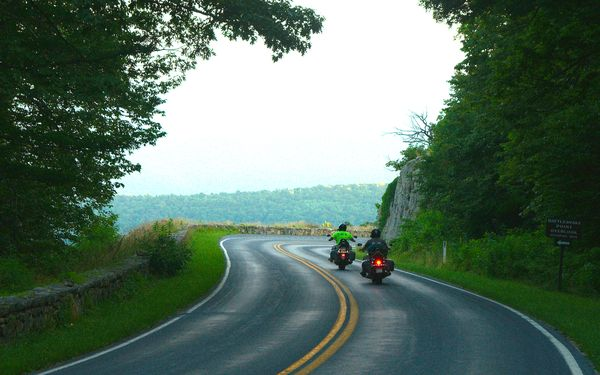 Motorcycle Riding Along the Scenic Skyline Drive