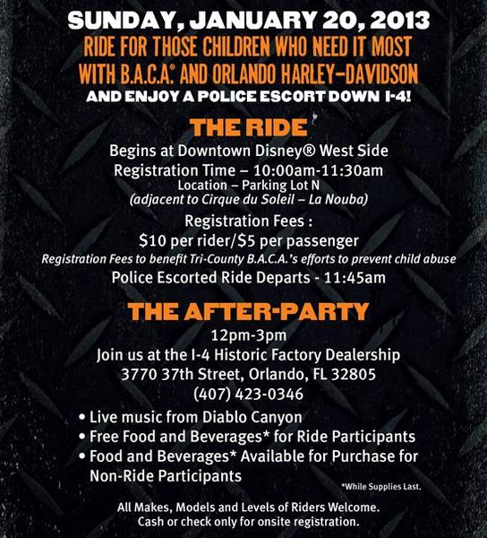 Bikers Against Child Abuse Benefit - Jan 20 Event Schedule