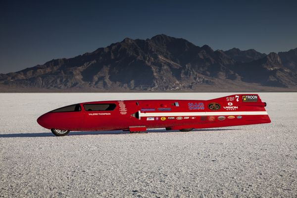 The 3-liter, turbocharged, 16-valve V4 streamliner, designed with only the motorcycle world speed record in mind.