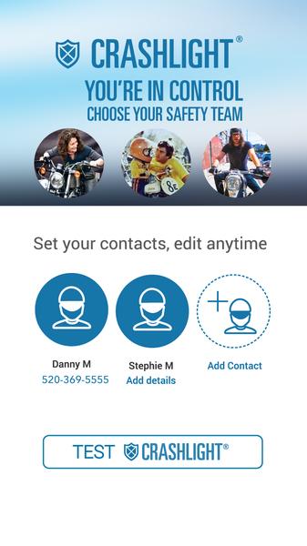 CrashLight® Set Your Contacts - EatSleepRIDE Motorcycle GPS App