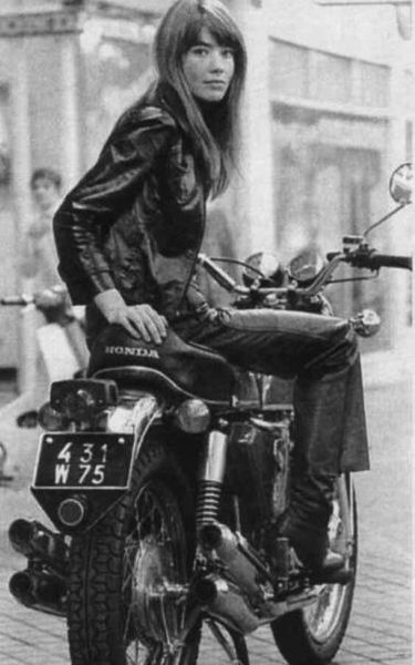 Françoise Hardy on a Honda in Paris ?