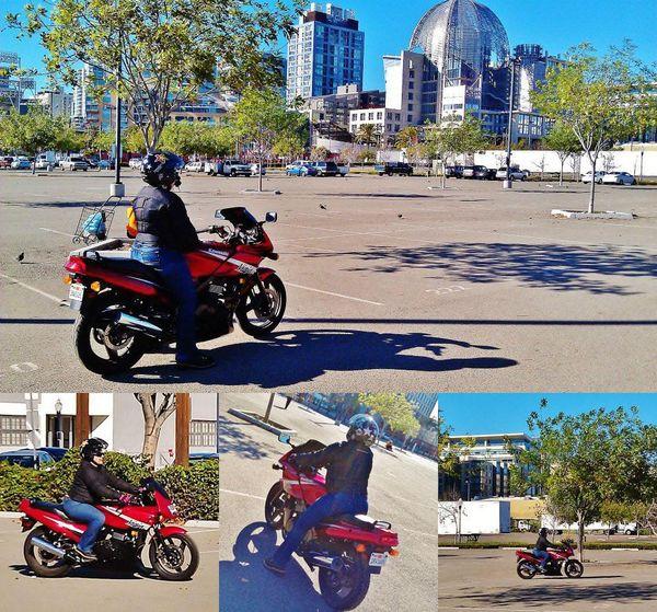 Sash Practicing on Motorcycle