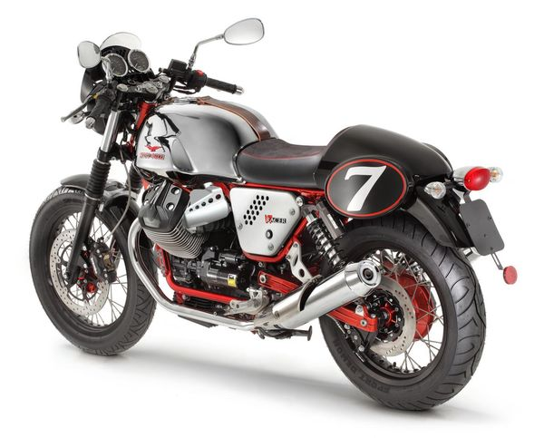 2013 Moto Guzzi V7 Racer - rear quarter view
