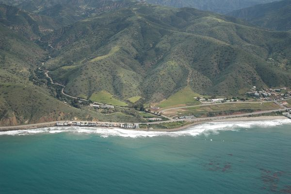 View of Santa Monica Mountains - Start of Mulholland Hwy on Pacific Coast Highway