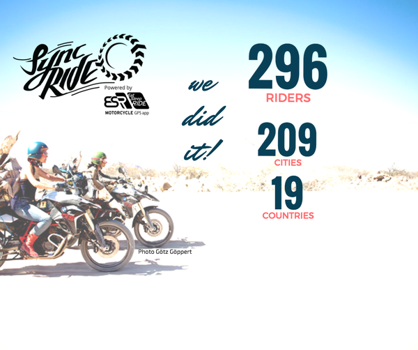 On Sat. May 27th, 2017 at 07:00 PT 296 riders in 209 cities across 19 countries rode together in unison for motorcycle safety. It's call #SyncRIDE.