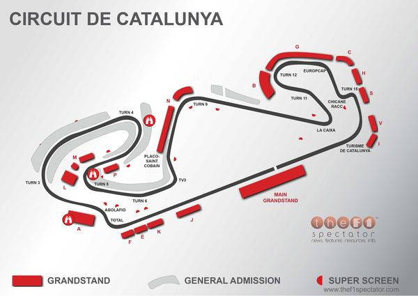 A turn by turn map of the Catalunya Circuit