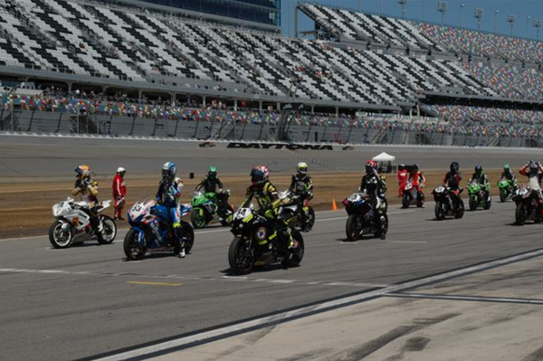 Starting grid at Saturday's 76th Daytona 200. Photo: David Swarts