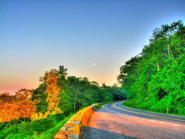 Moon Over Compton Peak - Motorcycle Riding Along Skyline Drive, Shenandoah National Park