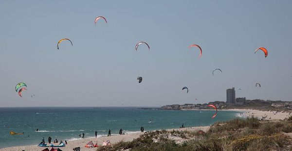 Kite-surfers in Table Bay, Cape Town, South Africa