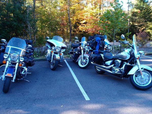 Harleys parked at Fallingwater
