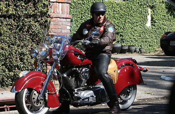 Arnold Schwarzenegger riding his Indian in Malibu