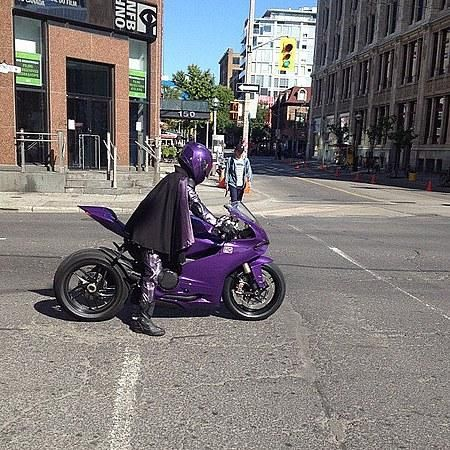 Hit-Girl and Purple Ducati at a stoplight on set for Kick-Ass 2 filming
