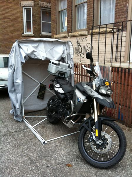 BMW F800GS ready for winter storage in the RideInn -- She does not Look happy