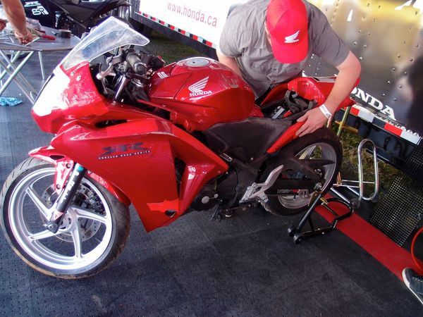 Sean Smith's CBR250R taped up with duck tape
