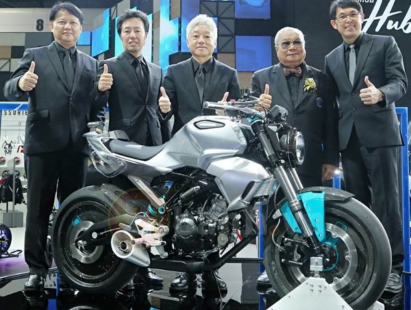 Some of the higher-ups at Honda Thailand pose for a photo alongside the new 150 SS Concept Bike